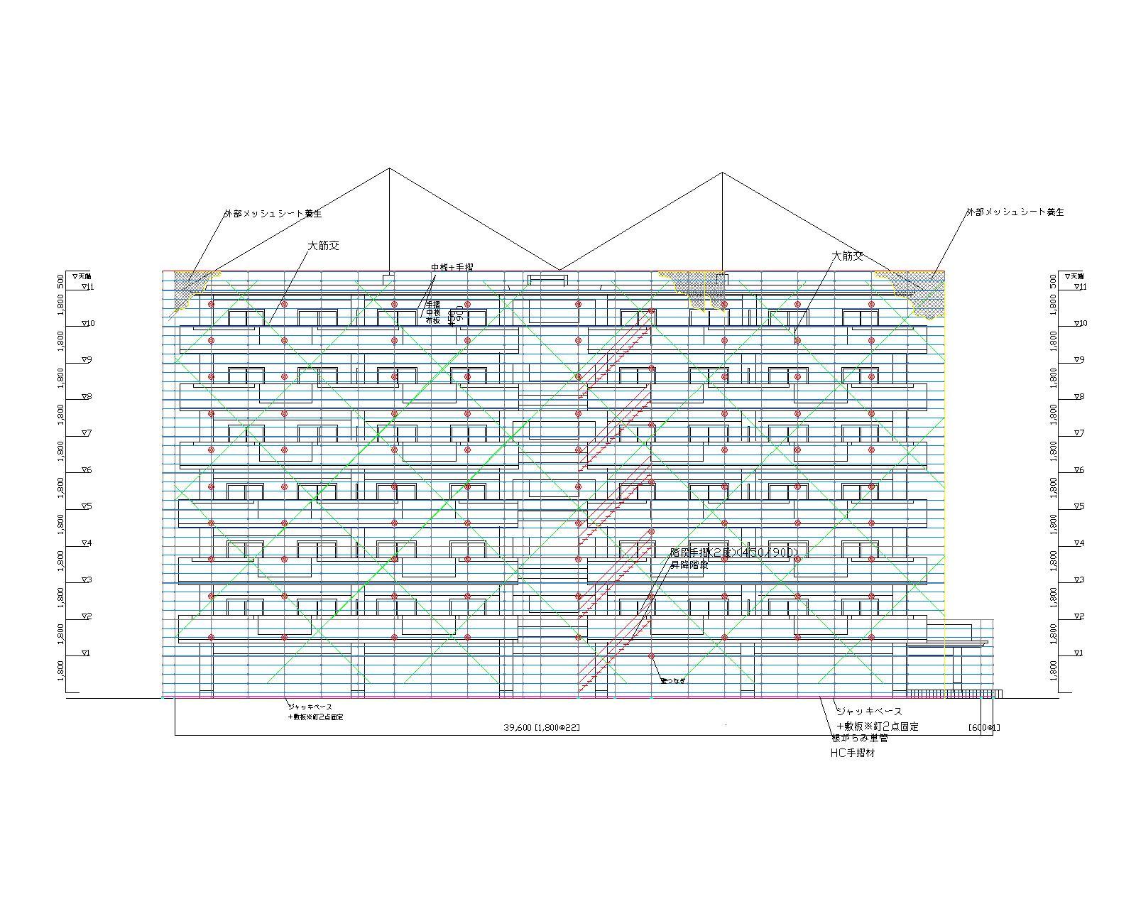 1.1  ハイラーク博多 外部足場計画図11.28 (2)-モデル